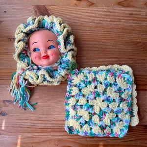 Vintage Crochet Baby Face Pot Holder